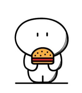 Cartoon of a person with a hamburger (or veggie burger)